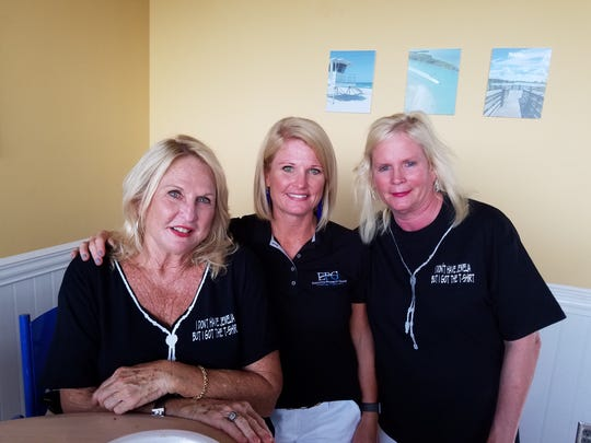Ladies of the Jewelia Project members and supporters Gail Flesche, left, Brittany Huff and Janie Reed at the June 14 St. Lucie Mets baseball game.