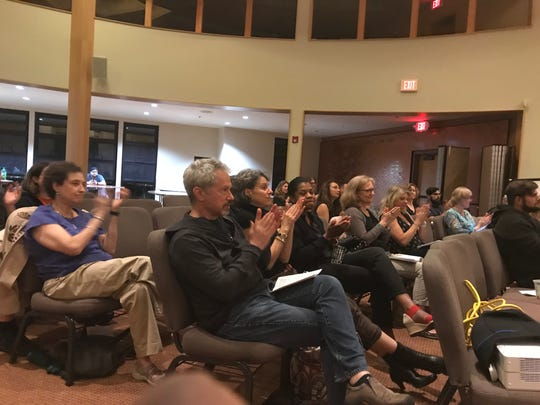 "Audience members at the ""Borders of the Heart,"" a fundraiser event at Bnai Keshet in Montclair on June 27."