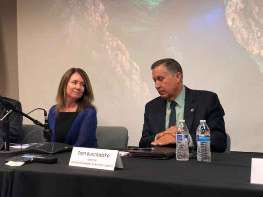 U.S. Bureau of Reclamation Commissioner Brenda Burman (left) and Arizona Department of Water Resources Director Tom Buschatzke take reporters' questions at a press conference on June 28, 2018.