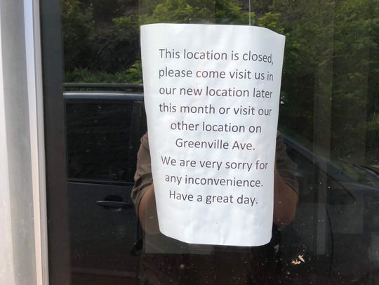 A sign hanging at the old McDonalds location on Jefferson