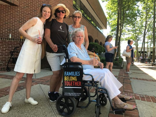 Rose Lisi and her family on her 95th birthday at the Families Belong Together rally in Toms River on Saturday, June 30, 2018..