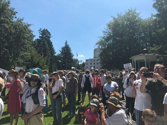 Hundreds of Oregonians gathered at the state capitol Saturday to protest immigrant families being separated at the U.S. border by immigration officials.