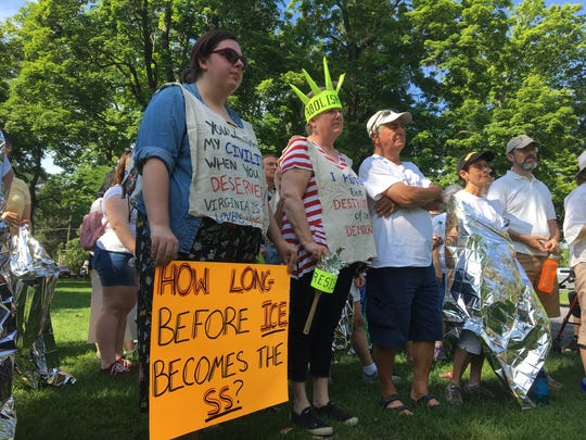 Participants at the Families Belong Together March at Staunton's Gypsy Hill Park on Saturday, June 30, 2018.