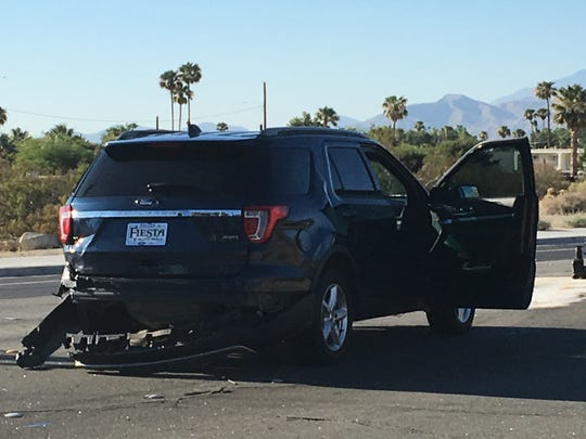 A Palm Springs police SUV was damaged in a collision Monday morning on Indian Canyon Driver.