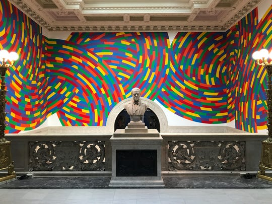 An installation by Sol LeWitt at the Wadsworth Athenaeum in Hartford, Conn.