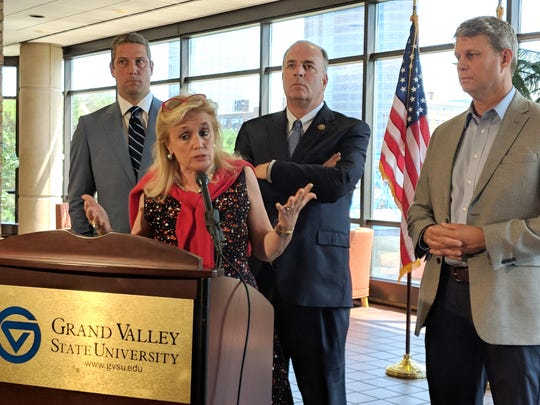 Rep. Debbie Dingell, D-Dearborn, supports an increase in Great Lakes cleanup aid as do U.S. Reps. Dan Kildee, D-Flint Township, and Bill Huizenga, R-Zeeland, who are to her right.