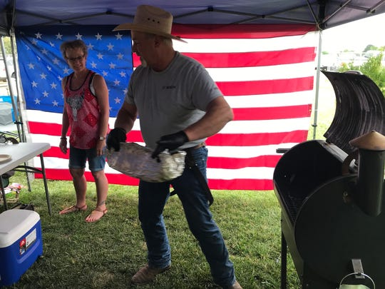 Jim and Becky Culver competing in the 2018 Great Western BBQ Cook-Off at the St. Paul Rodeo