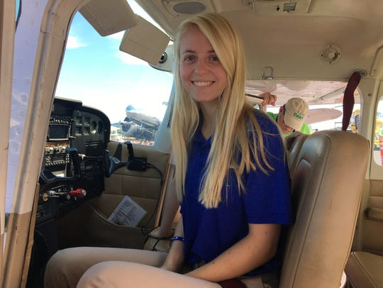 Pilot Jessica Koeppen, of Broadway, takes women and