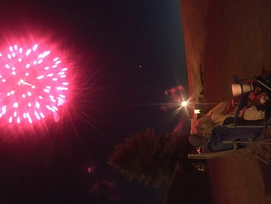 The Reynolds family enjoys fireworks in Uniontown.