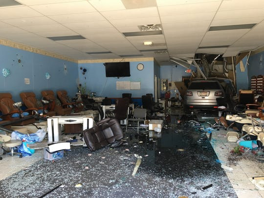 An SUV drove into the Pro Nails salon located at the Waynesboro Town Center on Monday afternoon.