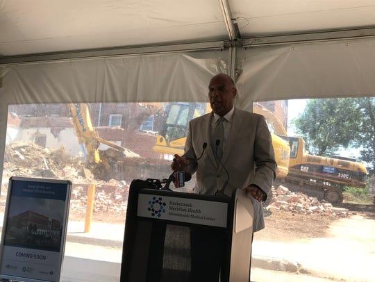 Montclair Mayor Robert Jackson addresses the groundbreaking