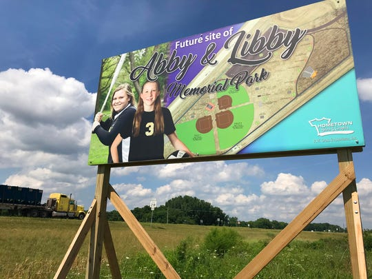 The Abby and Libby Memorial park, at Indiana 218 and the Hoosier Heartland Highway, is expected to have three ball diamonds as a tribute to Abby Williams and Libby German, Delphi Middle School eighth-graders killed while hiking trails near Delphi in February 2017.