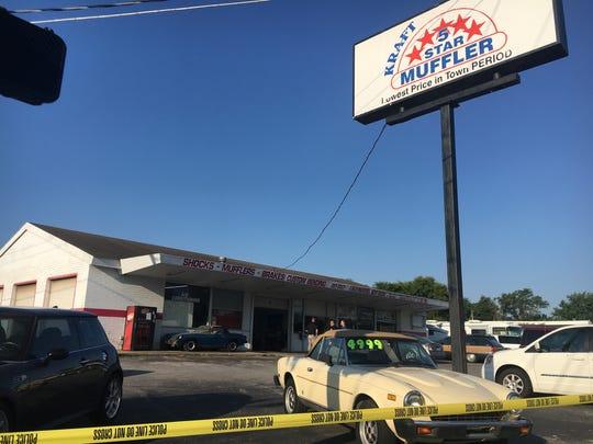 Police crime scene tape surrounds Kraft 5 Star Muffler