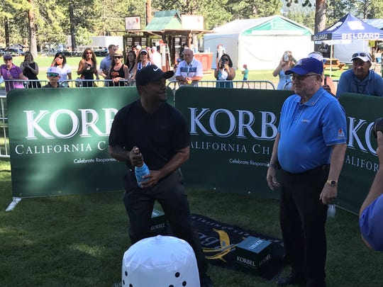 Alfonso Ribeiro particiaptes in the Korbel Champagne spray-off Wednesday at Edgewood Tahoe.