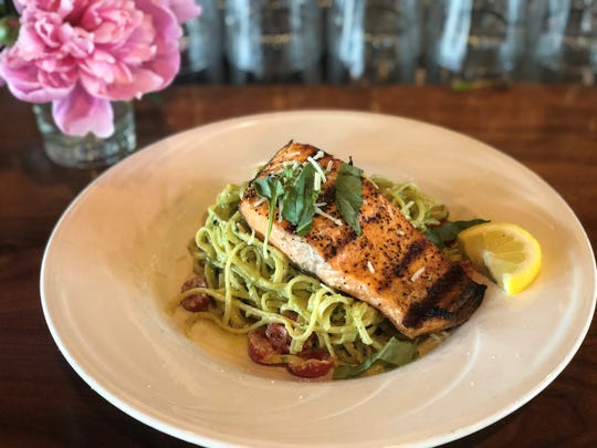 Fresh salmon linguine plated up at the Boat House in