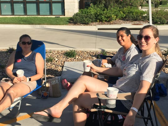Individuals are camped out outside the Corpus Christi Chick-fil-A location on the southside, on Tuesday, July 11, 2018. A total of 100 people will receive free Chick-fil-A for a year.