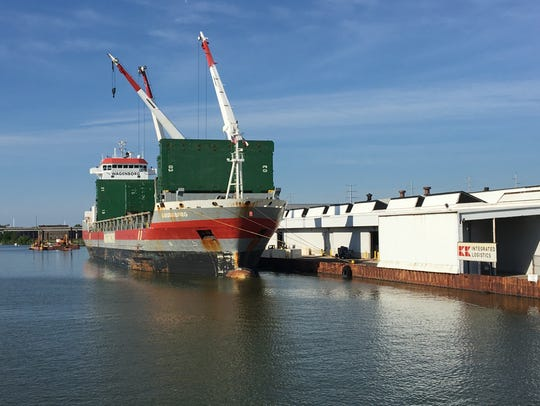 The MV Arubaborg arrived in Green Bay Tuesday night
