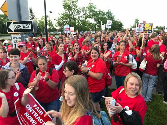 UVM Medical Center nurses gather early Thursday in preparation for a two-day strike Thursday and Friday.
