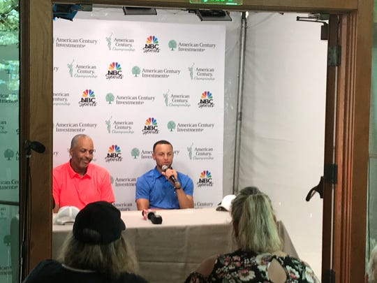 Steph Curry and Dell Curry speak to the Media Thursday at Edgewood.