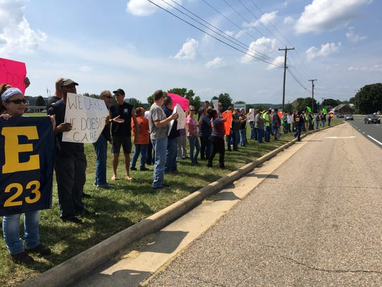 Daikin workers gathered outside the Verona plant Thursday, July 12, 2018 to protest the working conditions of the plant.