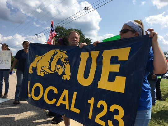 Daikin workers gathered outside the Verona plant Thursday,