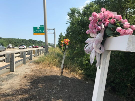 Two crosses mark the spot on southbound Delaware Route 1, near the Delaware Route 273 exit ramp, where teens Kelly Marston and Mark Betters were killed following a cross-median crash on July 6, 1993 – 25 years to the day when five members of a New Jersey family were killed in a cross-median crash.