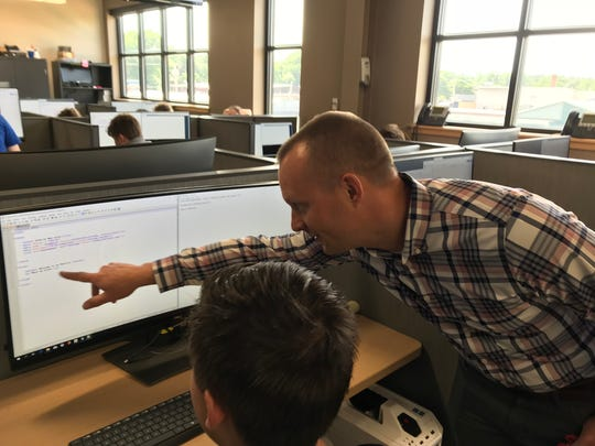 High school students from across the country are at the Leahy Center for Digital Investigations learning how to thwart hackers with Champlain College instructor  Jonathan Rajewski, a computer forensic examiner with the Vermont Internet Crimes Task Force in Burlington.