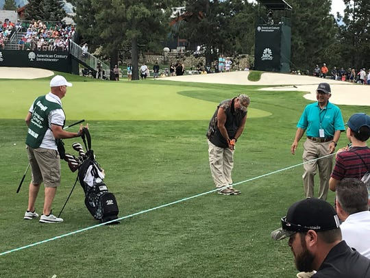 Larry the Cable Guy takes a bow on No 18 Friday at