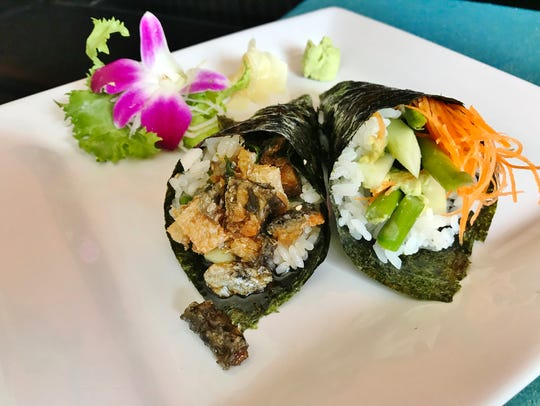 Krazy Fishes hand rolls. The Veggie Hand Roll (right)