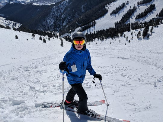 Iden Elliott at the top of Lookout Bowl at Sun Valley.