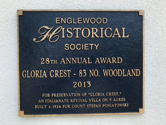 A historic preservation plaque awarded to the owners