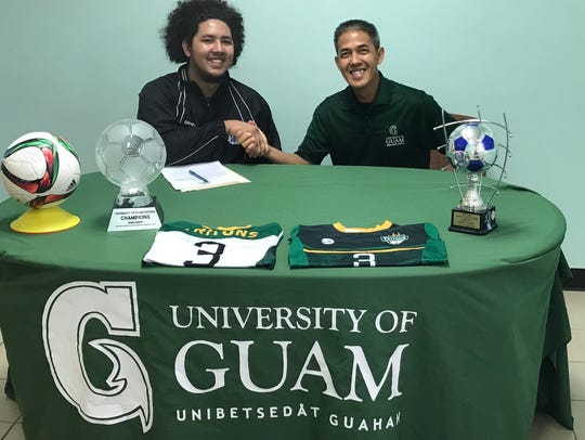 Left: Isaiah Macias with University of Guam Head Soccer