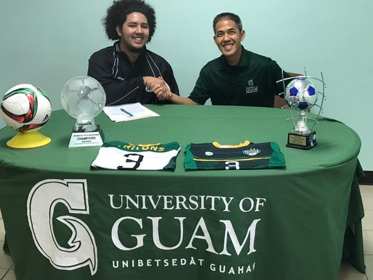 Left: Isaiah Macias with University of Guam Head Soccer Coach Rod Hidalgo.