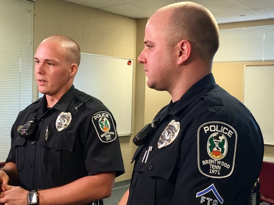 Officer Seth Young (left) and Officer Destin Legieza.