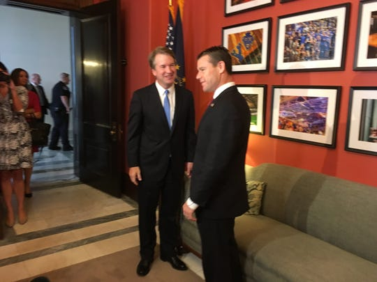 Sen. Todd Young met with then-U.S. Supreme Court nominee Brett Kavanaugh earlier this year in Washington, D.C.