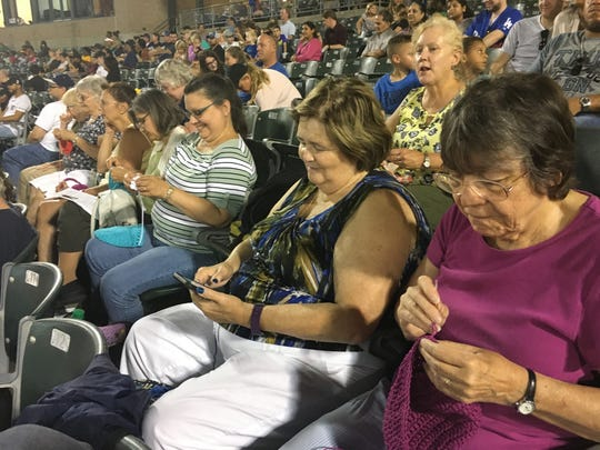 Here are some of the kintters and crocheters who enjoyed last year's Stitch & Pitch game.