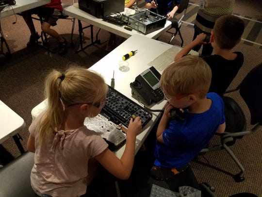 At Maker Camp, which takes place this afternoon (July 19) from 2-4 p.m. at the Library Station, kids in grades 1-6 can take apart old computers and make all sorts of interesting things out of them.