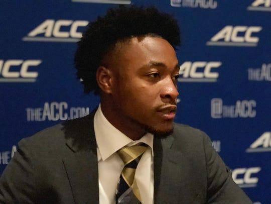 Georgia Tech quarterback TaQuon Marshall speaks to