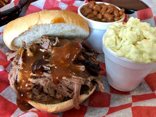 Pulled brisket with beans and potato salad from Smokin