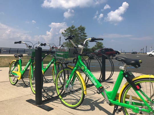 Three LimeBikes parked by the Keyport Waterfront, a popular walking, biking and fishing spot for residents and visitors.