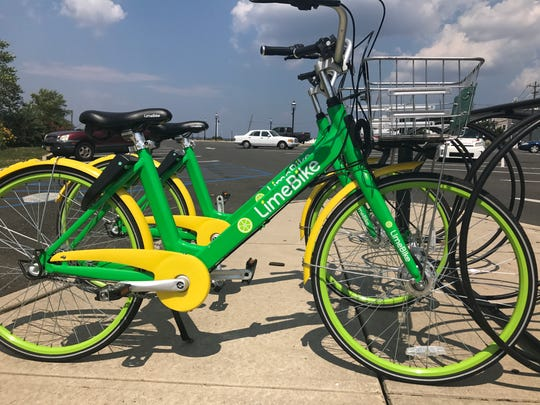 LimeBikes parked by the Keyport Waterfront, a popular walking, biking and fishing spot for residents and visitors.