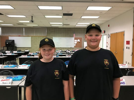 Austin, 12, and Carleigh, 10, both of North Brunswick, are leaders among their peers at the D.A.R.E. program/Jr. Police Academy for the summer.