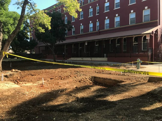 The site where The Park's deck will sit has been excavated. Construction on the deck should start the week of July 23.