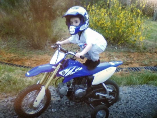 Tyler Hughes on his first dirt bike at age 2.
