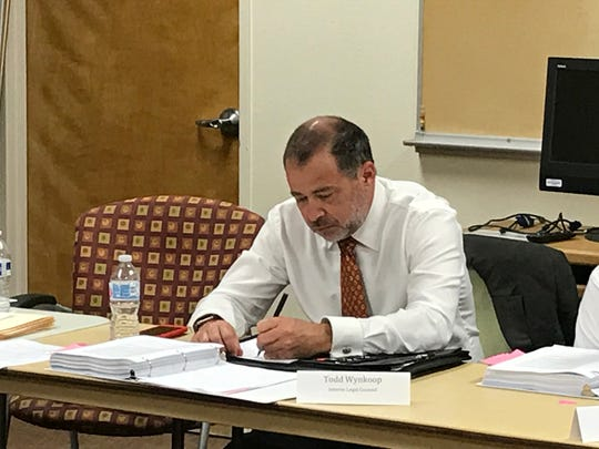 Attorney Todd Wynkoop at the Tulare Regional Medical Center's Board of Directors meeting on Tuesday.