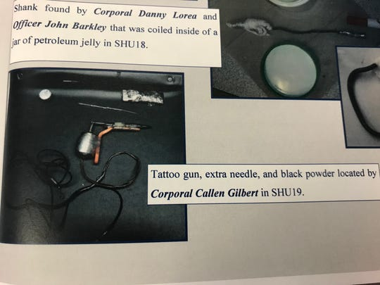 """A copy of """"The Fenceline,"""" an internal publication for DOC staff, shows photos of contraband that correctional officers found in the possession of inmates."""