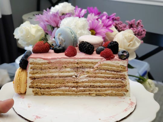 A honey cake is made with layers of honey-sweetened