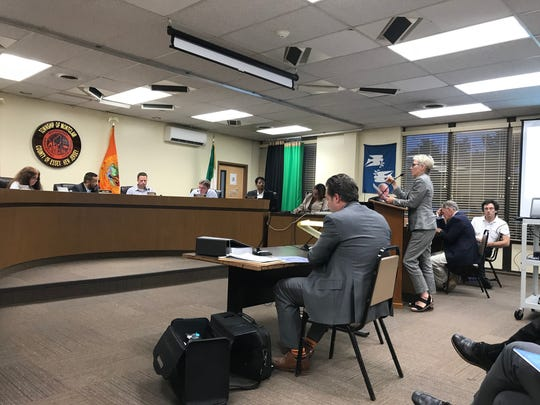 Sandra Chamberlin addresses the Montclair Planning Board on July 23, 2018, during the Lackawanna Plaza application hearing.