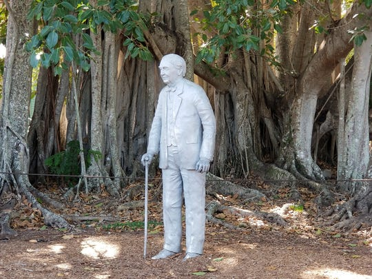 A statue of Thomas Edison at the Edison & Ford Winter Estates in Fort Myers, Fla.
