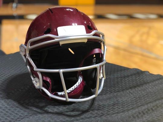 A VICIS ZERO1 football helmet in Mt. Whitney colors.